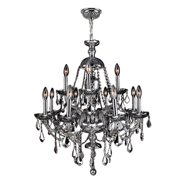 "Provence Collection 12 Light Chrome Finish and Clear Crystal Chandelier 28"" D x 31"" H Two 2 Tier Large"