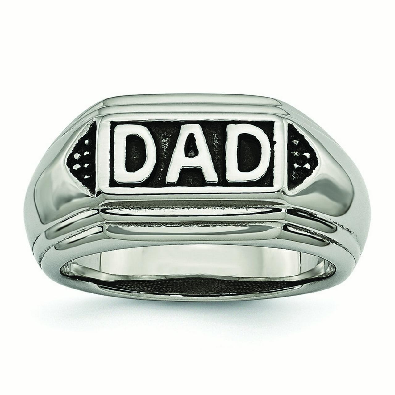 Stainless Steel Black Enamel Dad Ring - Ring Size: 9 to 12