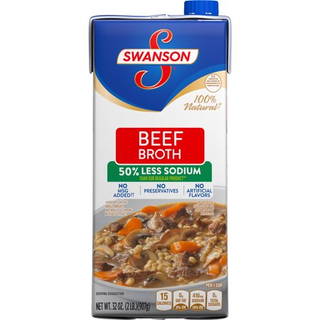 (6 Pack) Swanson 50% Less Sodium Beef Broth, 32