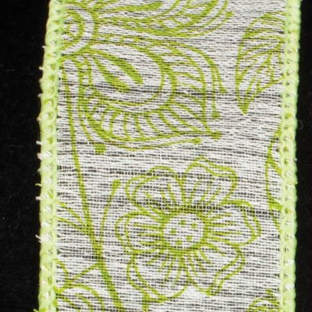 Vintage Garden Lime Green Floral Wired Craft Ribbon 1.5