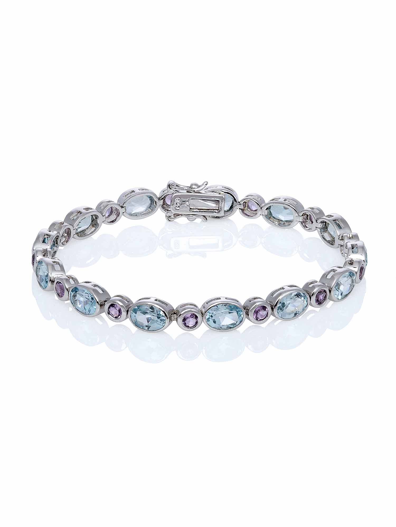 "Blue Topaz and Amethyst Platinum Plated Sterling Silver Bezel Set Bracelet, 7.25"" by Generic"