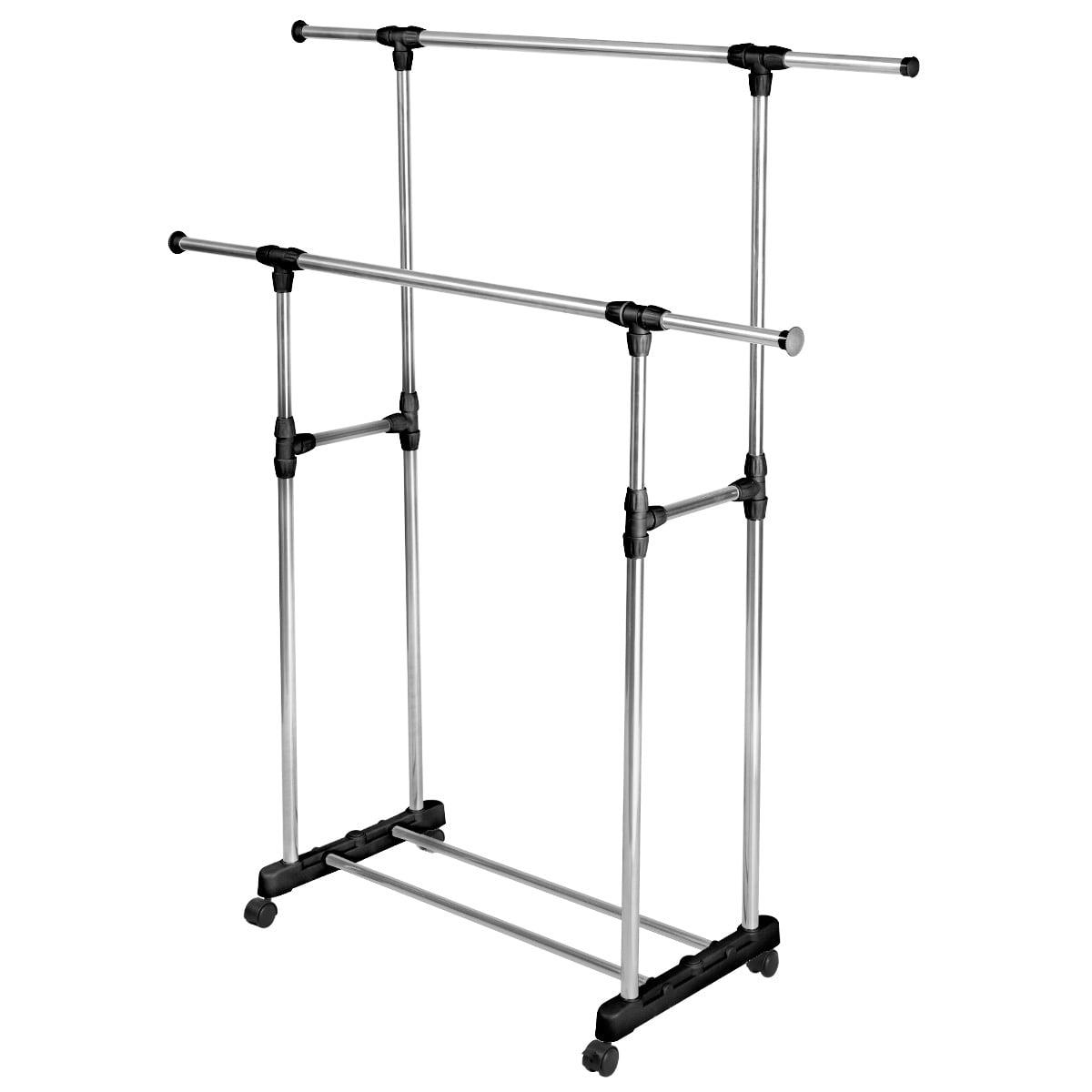 costway heavy dutydouble adjustable portable clothes rack hanger extendable rolling walmartcom