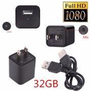 32GB 1080P Hide Camera AC Adapter USB Wall Charger Camcorder DV Surveillanc