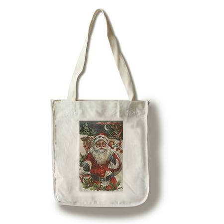 Christmas Greeting - Santa with Deer and Kids - Vintage Holiday Art (100% Cotton Tote Bag - Reusable) - Art Tote
