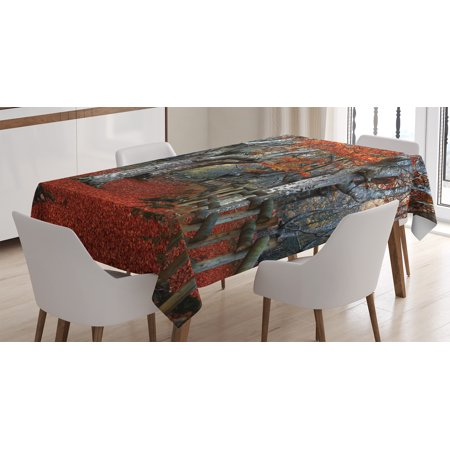 Beech Rectangular Table (Lake House Decor Tablecloth, Dreamy Gated Beech Forest with Fall Leaf Mother Earth Natural Wonders Theme, Rectangular Table Cover for Dining Room Kitchen, 52 X 70 Inches, Grey Red, by Ambesonne )
