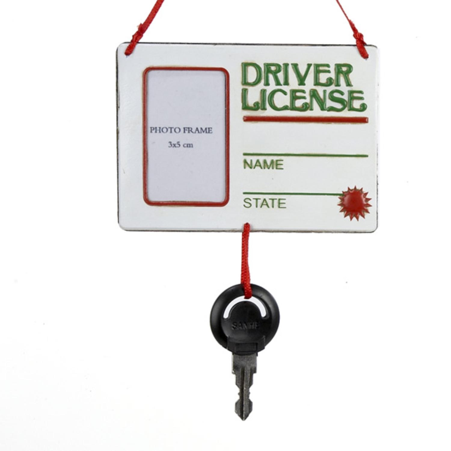 """Pack of 12 Driver License with Key Dangle Photo Frame Christmas Ornaments 5"""""""