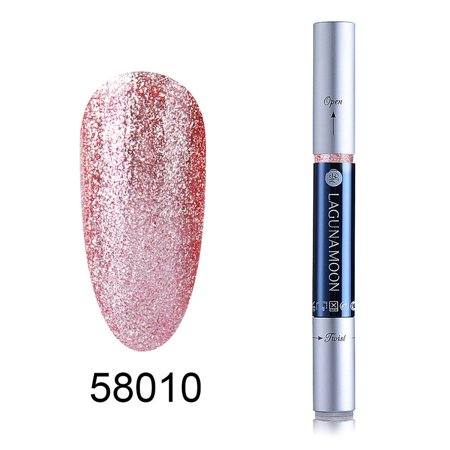 Lagunamoon Nail Art Pens 3ml UV LED Super Bling Gel Polish Nail Glitter Sand Platinum Gel Polish Pen 58010