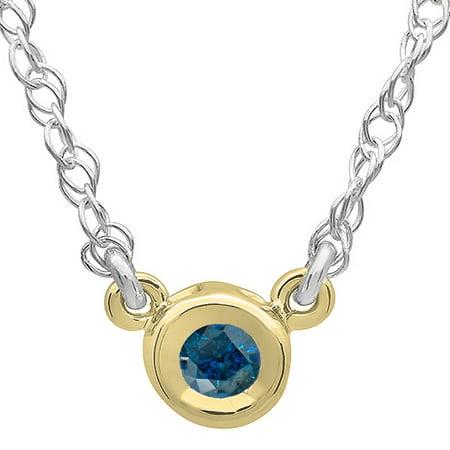 0.25 Carat (ctw) 14K Gold Round Blue Diamond Ladies Bezel Set Solitaire Pendant 1/4 (Full Bezel 14ky Gold Solitaire)