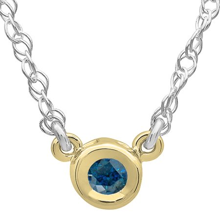 0.25 Carat (ctw) 14K Gold Round Blue Diamond Ladies Bezel Set Solitaire Pendant 1/4 CT