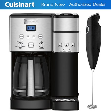 Cuisinart 12-Cup Coffee Maker and Single-Serve Brewer Stainless Steel (SS-15) with Deco Gear Milk Frother - Handheld Electric Foam Maker For Coffee, Latte,