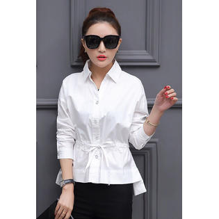 Women Collar Neck Waist Fastening Shirt and Blouse White