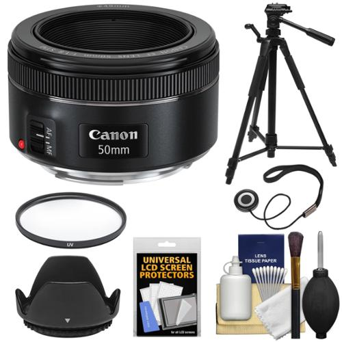 Canon EF 50mm f/1.8 STM Lens + Filter + Lens Hood + Tripod Kit for EOS 6D, 70D, 7D, 5DS, 5D Mark II III, Rebel T3, T3i, T5, T5i, T6i, T6s, SL1 Camera