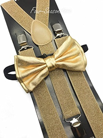 Gold Glitters Suspender and Bow Tie Set for Baby Toddler Kids Boys Girls USA