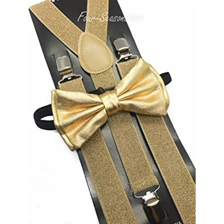 Metallic Gold Bow Tie & Matching Suspenders Set Tuxedo Wedding Prom Youth Men ()