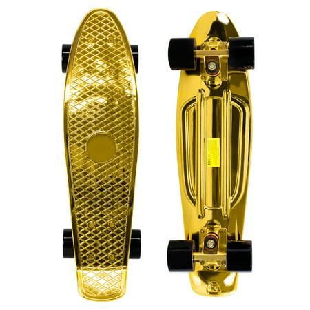 Penny Style Cruiser 22 Inch Board Plastic Retro Mini Skateboard Complete  Gold