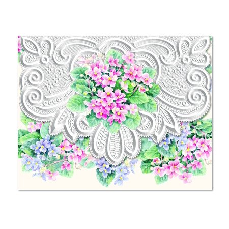 Carol's Rose Garden African Violets Blank 10 Card Set Portfolio, 10 embossed blank cards with matching envelopes By Carol Wilson Fine