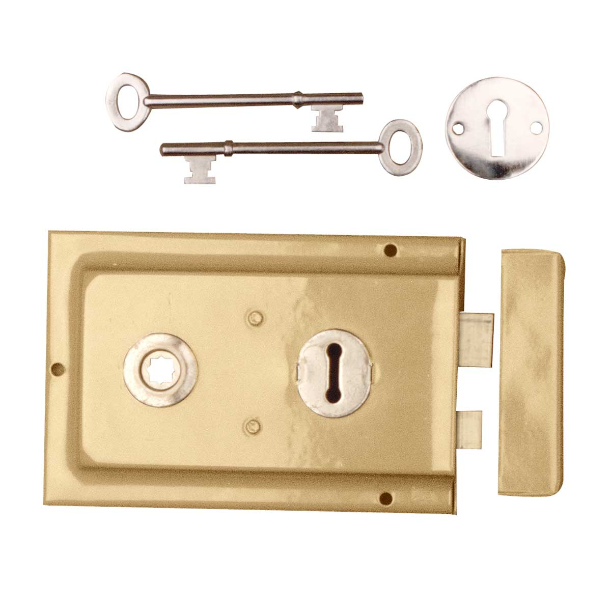 "Victorian Rim Lock Brass Plated Steel 6 1/8"" L x 4"" H 