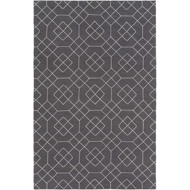 "Surya Seabrook 3'6"" x 5'6"" Hand Woven Wool Rug in Gray"