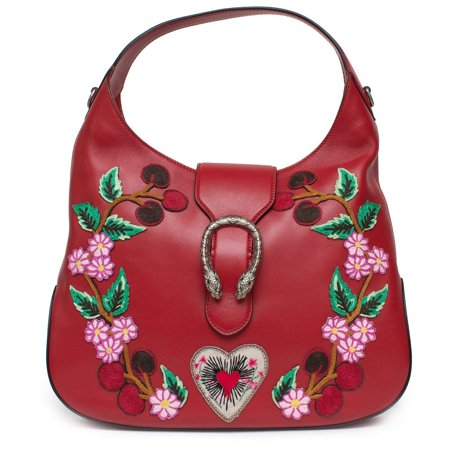 Gucci Red Dionysus Embroidery Cherry Blossoms Leather Shoulder Bag Medium Hobo Handbag New