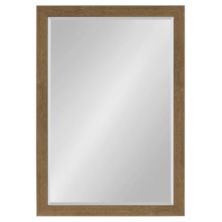 Kate and Laurel - Scoop Framed Beveled Wall Mirror, 28x40, Midtone Brown ()
