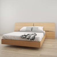 Nexera Kabane Platform Bed with Panoramic Headboard, Natural Maple