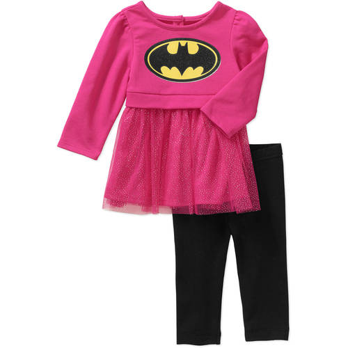 Batman Newborn Baby Girl Skirted Tunic and Leggings Outfit Set