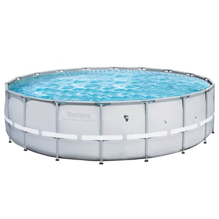 Bestway 18ft x 52in Power Steel Pro Round Frame Above Ground Swimming Pool,