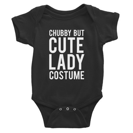 Chubby But Cute Lady Costume Baby Bodysuit Gift Black - Cute Chubby Teen
