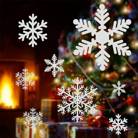 GLiving DIY Christmas Window Stickers White Snowflakes Window Clings Wall Decal Removable Christmas Window Decorations Snowflakes Santa Claus Glass Sticker for Christmas Window Display Decoration ()