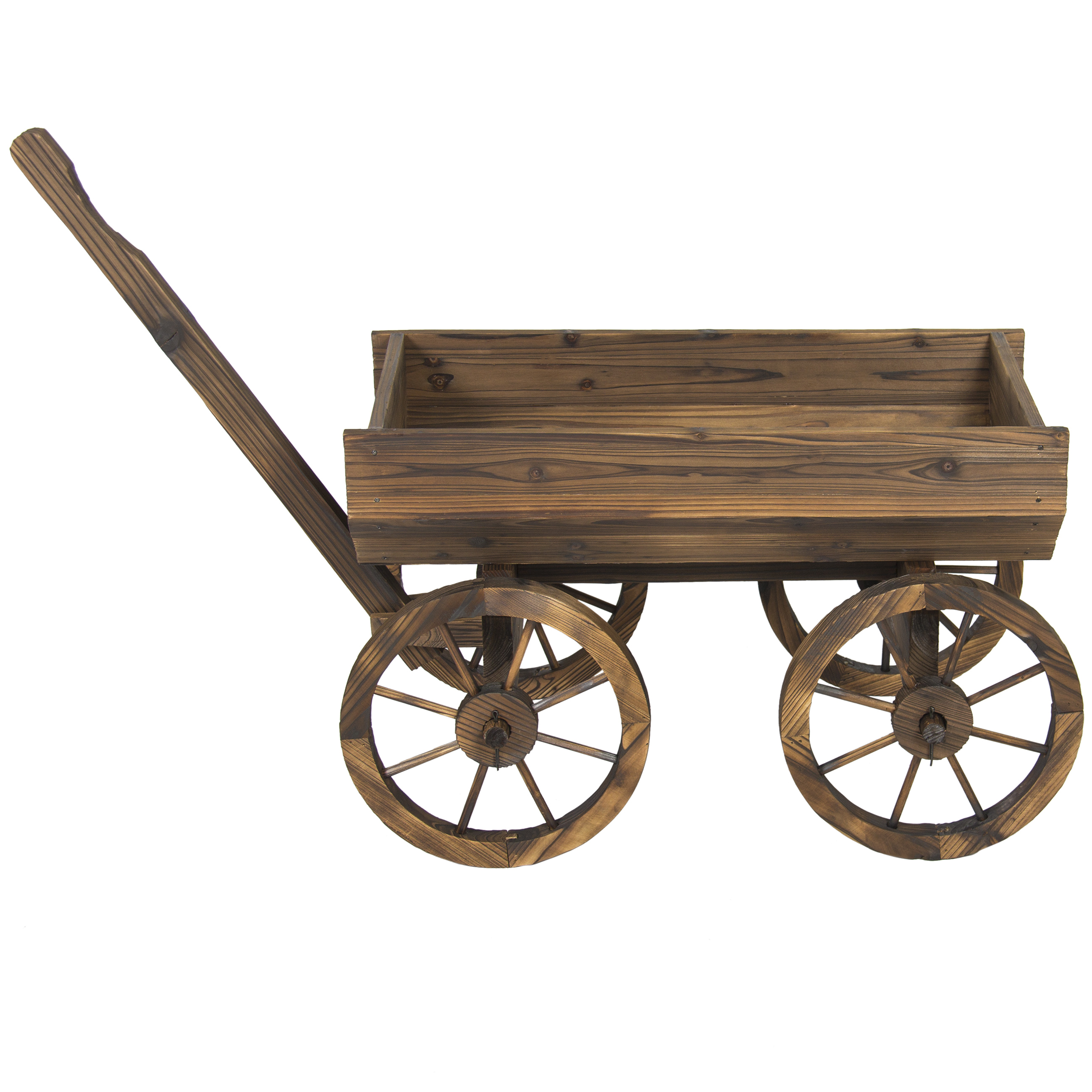 Garden Wood Wagon Flower Planter Pot Stand With Wheels Home Outdoor ...