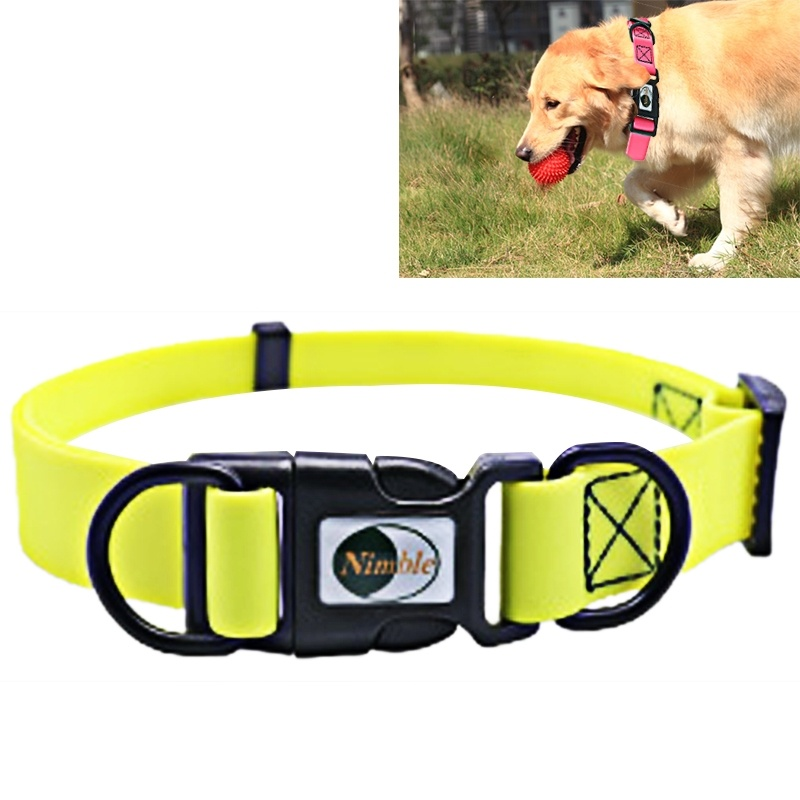 Dog Collar PVC Material Waterproof Adjustable Dual Loop Pet Dogs Collar, Suitable for Ferocious Dogs, Size: L, Collar Size: 39-63 cm (Yellow)