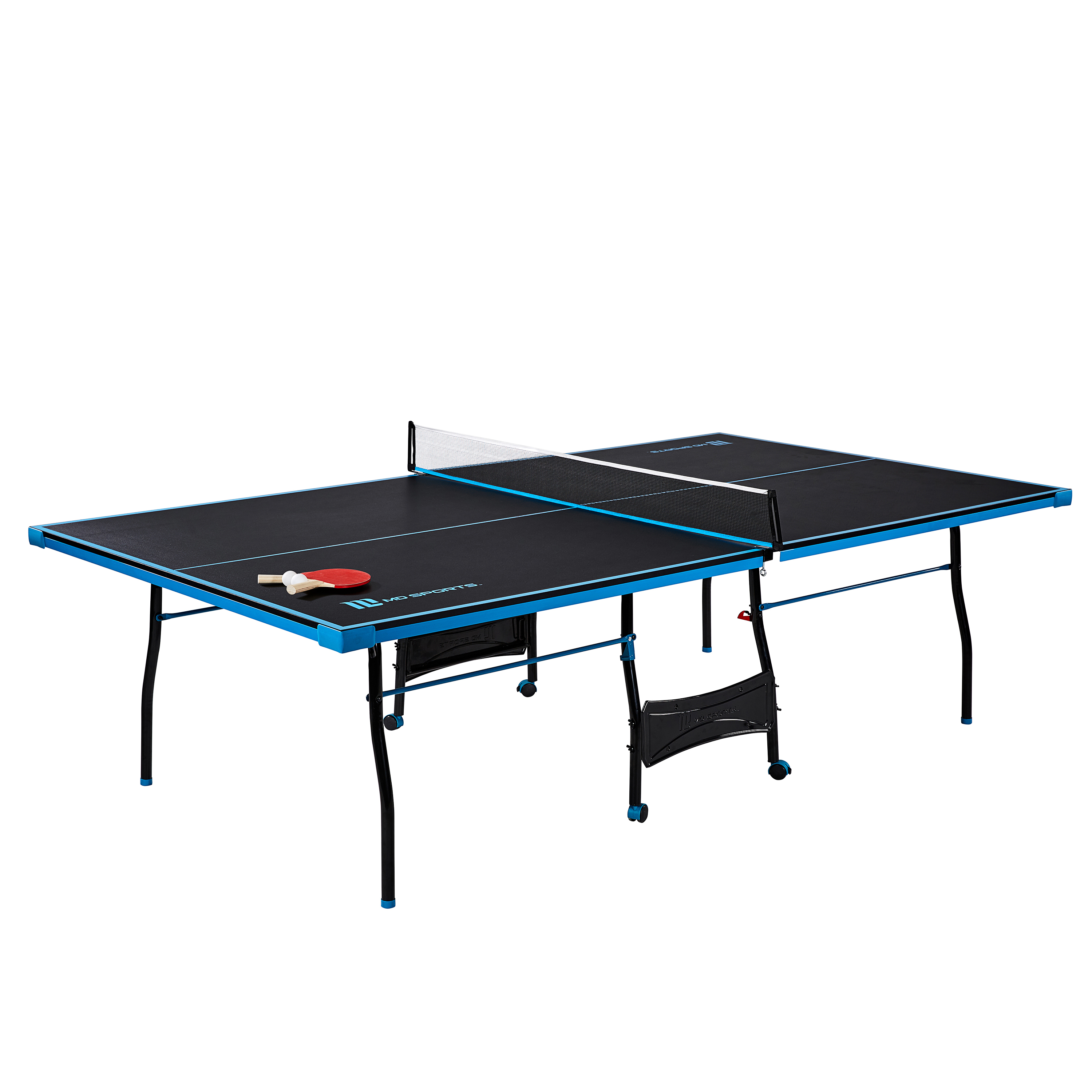 MD Sports Official Size Table Tennis Table, with Paddle and Balls, Black/Blue
