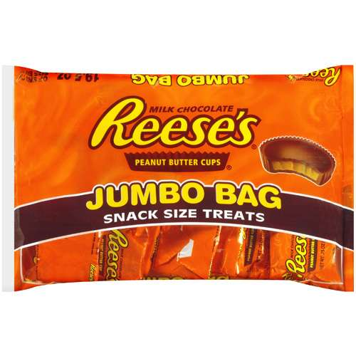 Reese's Peanut Butter Cups Jumbo Bag Snack Size Halloween Treats Chocolate Candy, 1.2 lb