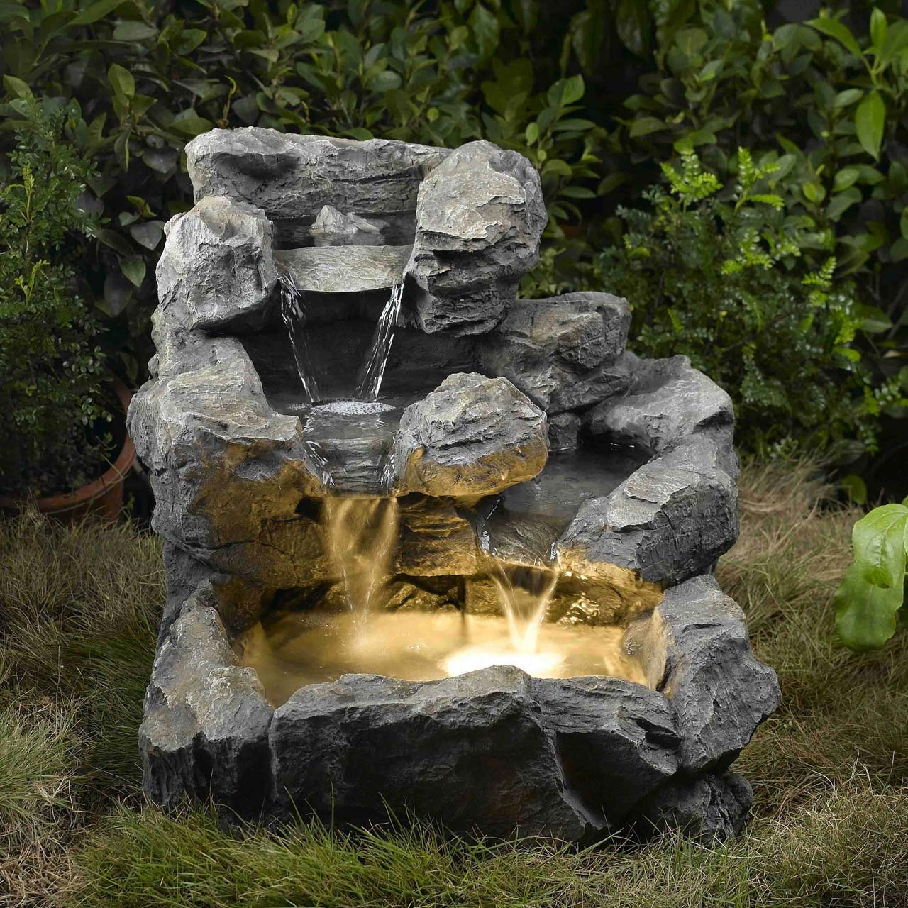 Click here to buy Rock Creek Cascading Outdoor Indoor Fountain with Illumination.