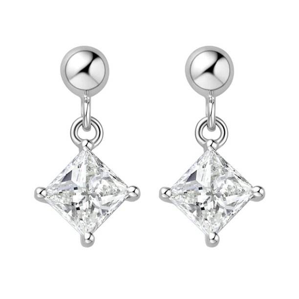 Drop 3 Carat Princess Cut Moissanite Stud Earrings in 14k White Gold