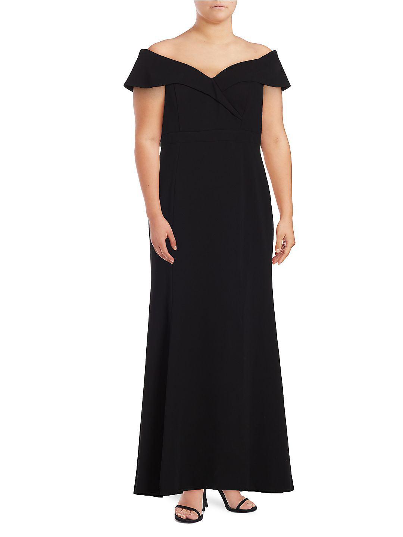 Plus Off-the-Shoulder A-Line Gown