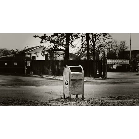 Framed Art for Your Wall Outdoors Black White Mail Postal Mailbox Urban 10x13 Frame