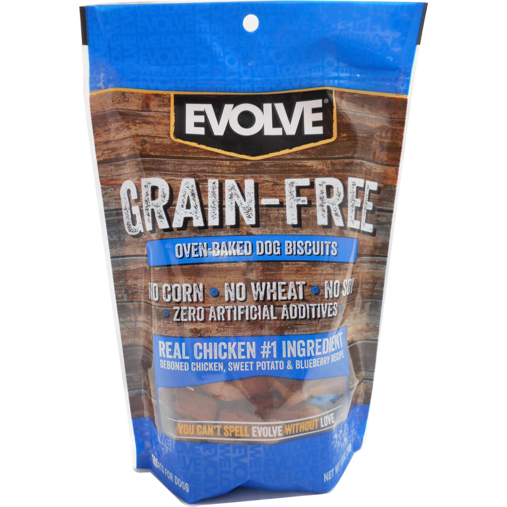 12oz Evolve Grain Free Chicken, Sweet Potato, and Blueberry Flavored Dog Biscuit