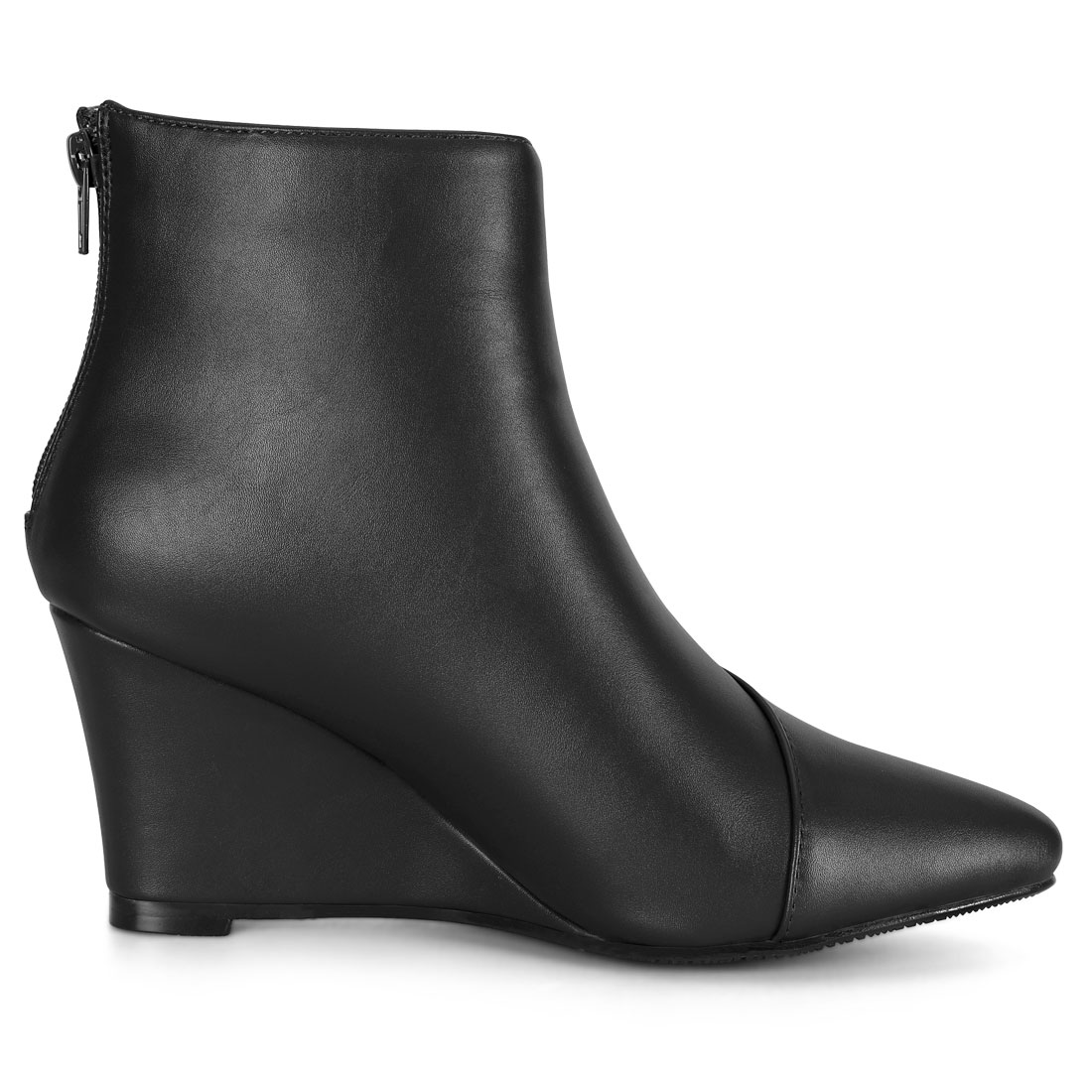 Pointed Toe Zipper Wedge Boots Black