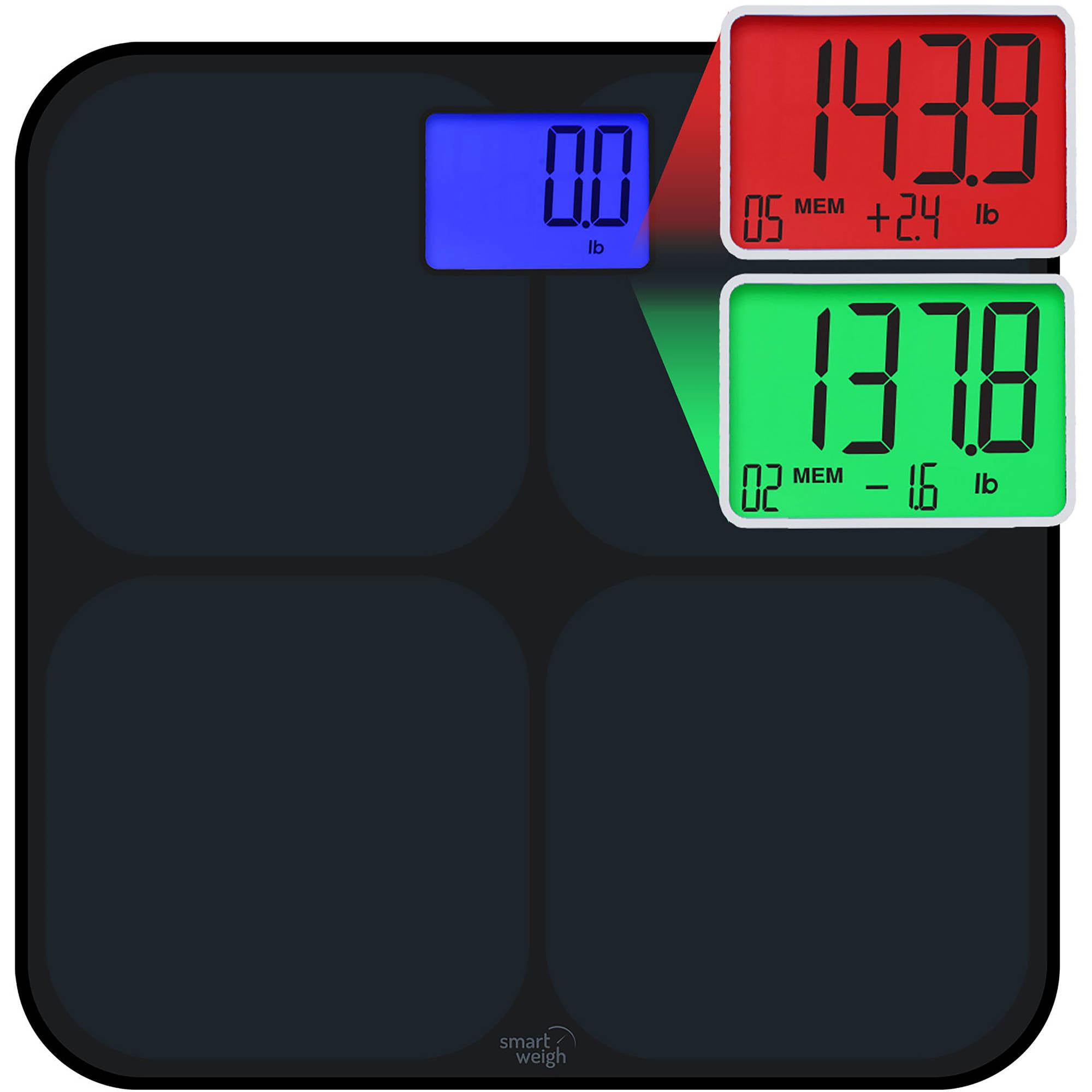 bathroom scale walmart. Smart Weigh Digital Bathroom Scale  High Accuracy Dual Color Weight Change Detection and Step On Auto Recognition for 8 Users Black SW SMS500 BLK