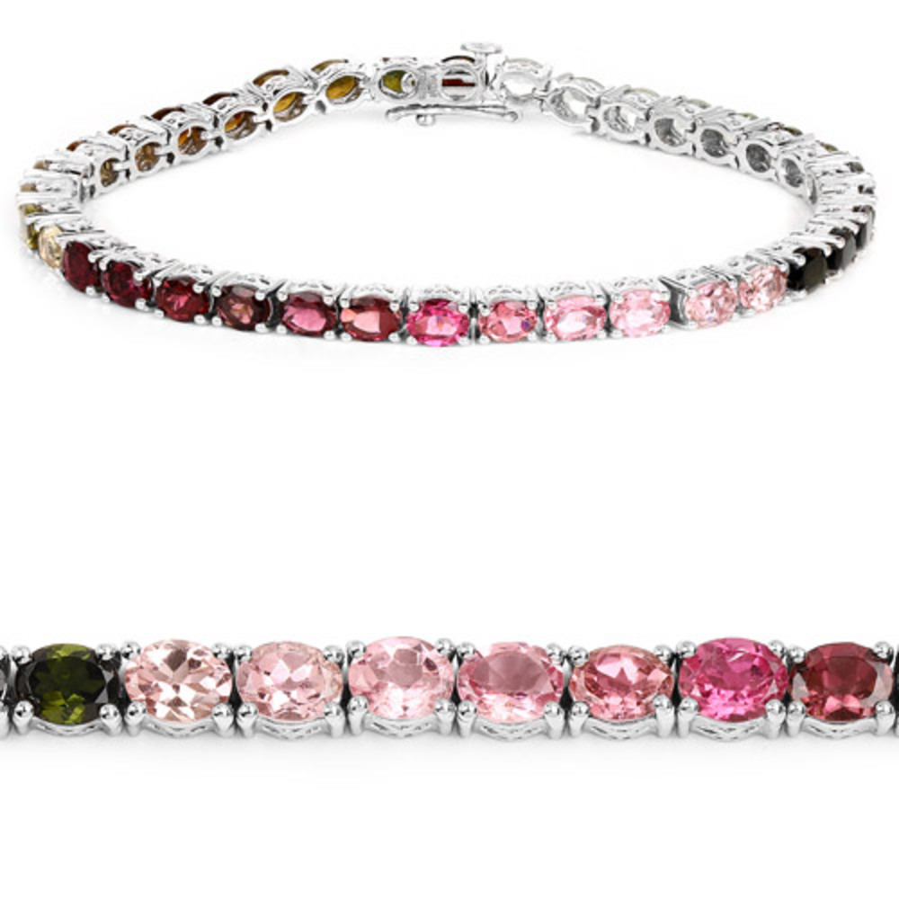 Genuine Oval Pink Tourmaline Bracelet in Sterling Silver by Bonyak Jewelry