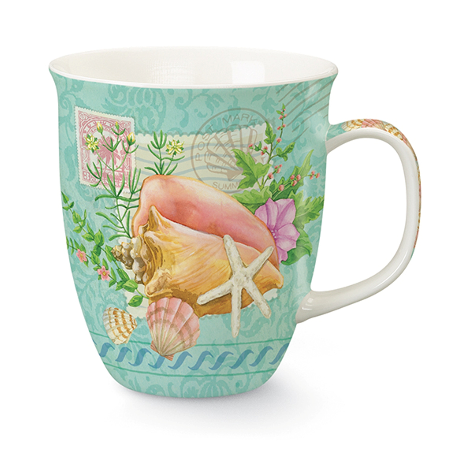 Summer Seas Conch Shell Starfish 16 Ounce Coffee Latte Tea Harbor Mug