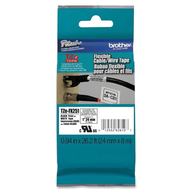 "Brother TZE-FX251 Black on White Flexible Tape - 0.94"" Width x 26.25 ft Length - Rectangle - Thermal Transfer - White -"