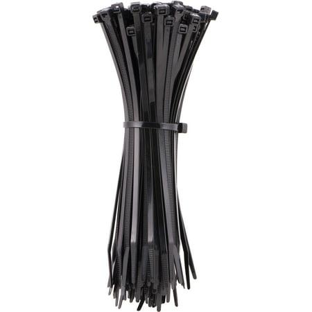 Black Zip Ties >> Hyper Tough 11in Black Zip Ties 100 Pack 75lb Tensile Strength Nylon Mount Cable Ties Resealable Bag 25469