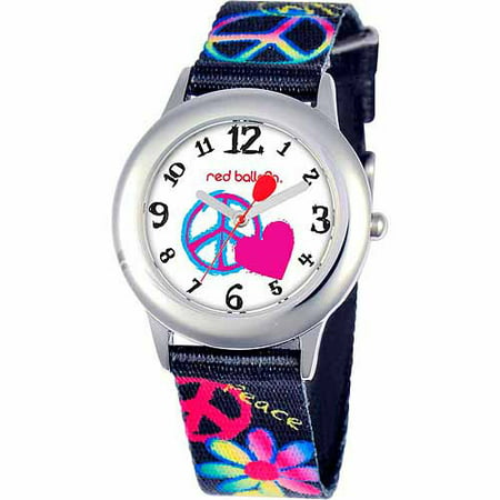 Red Balloon Peace, Love & Happiness Girls' Stainless Steel Watch, Black Strap