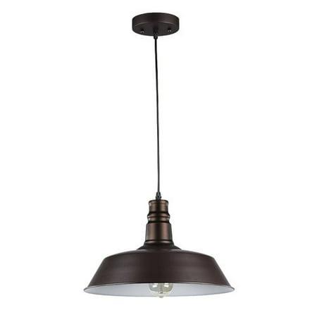 "CHLOE Lighting FRIEDRICH Industrial-style 1 Light Rubbed Bronze Ceiling Mini Pendant 14"" Wide"