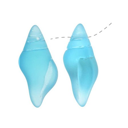Conch Horn - Cultured Sea Glass, Conch Shell Pendants 26x13mm, 2 Pieces, Aqua Blue