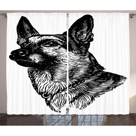 Animal Curtains 2 Panels Set, Pencil Sketchy Image of Dogs Human Best Friend Guardian Police Animal Artwork, Window Drapes for Living Room Bedroom, 108W X 108L Inches, Black and White, by