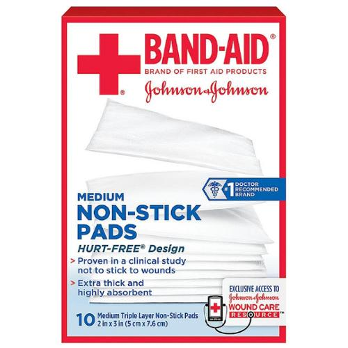 BAND-AID First Aid Non-Stick Pads, Medium, 2 in x 3 in, 10 ea (Pack of 4)