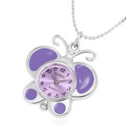 Fashion Alloy Purple Violet Enameled Butterfly Charm Pocket Watch Necklace